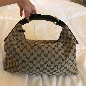 Authentic Gucci Canvas Gs Brown Horsebit Hobo Bag